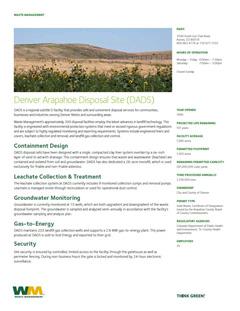 Denver Arapahoe Disposal Site (DADS) Landfill | Management